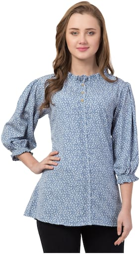 IRIS FASHIONS Women Floral Regular top - Blue