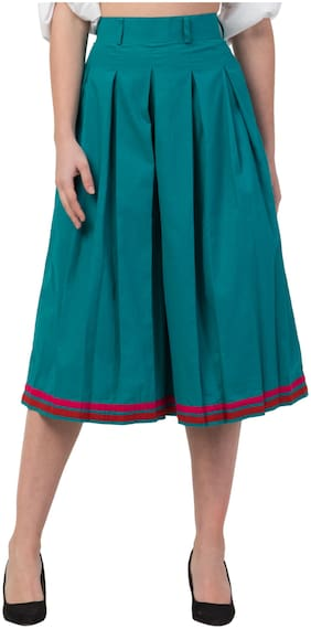 IRIS FASHIONS Women Cotton Solid Green Pleated Skirt