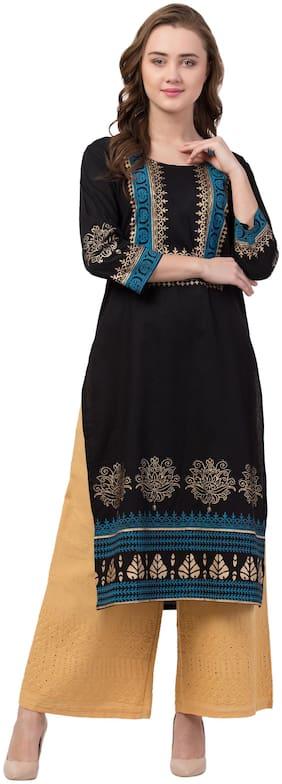 IRIS FASHIONS Women Cotton Printed Kurti Black