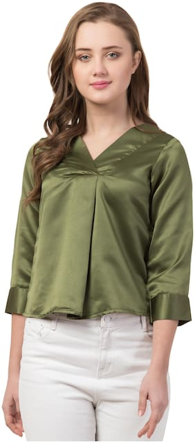 IRIS FASHIONS Women Solid Regular top - Green
