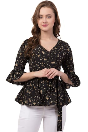 IRIS FASHIONS Women Floral Fusion top - Black