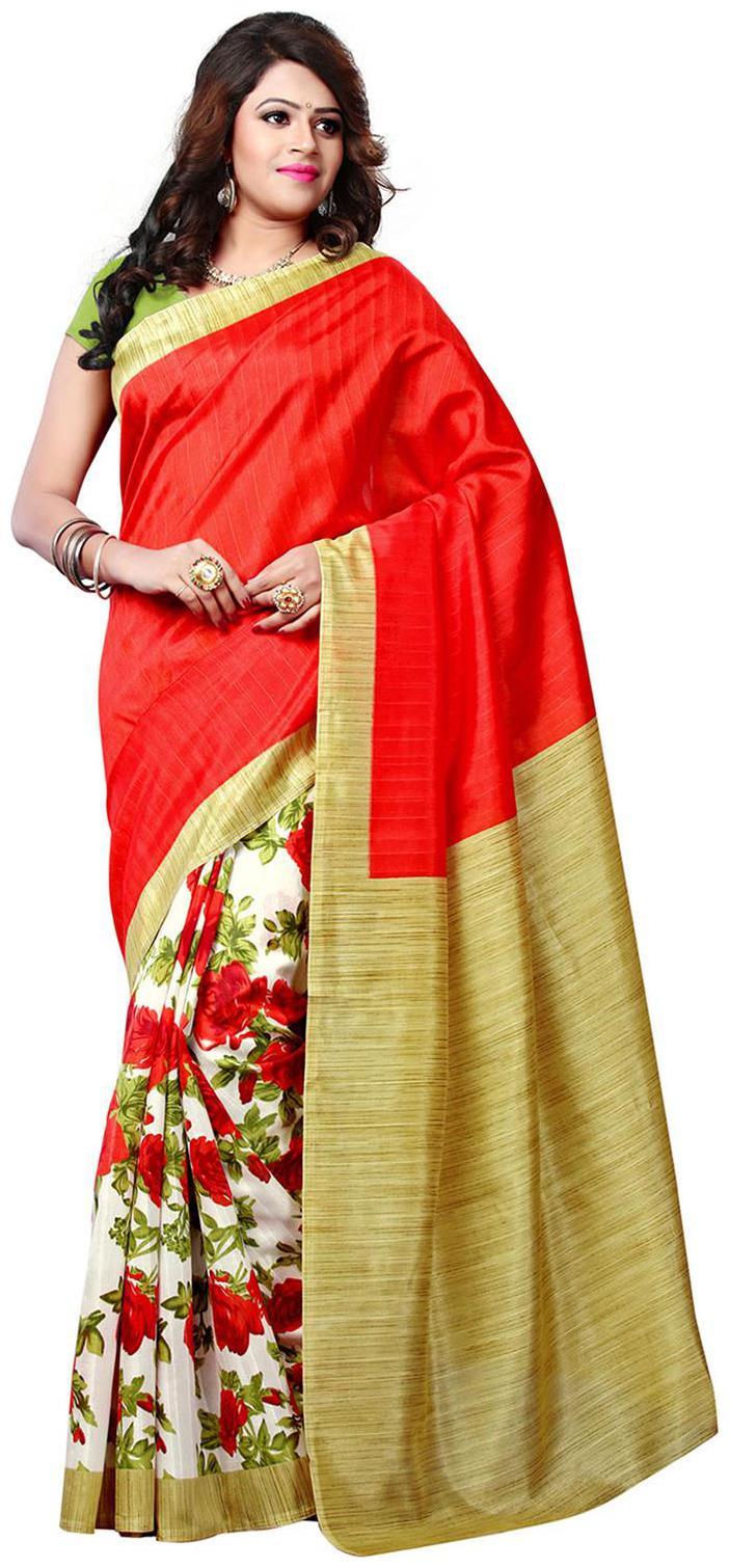 ISHIN Art Silk Multicolor Bollywood Printed Women's Saree