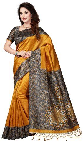 Ishin Art Silk Mustard Yellow Printed Women's Saree/Sari With Tassels