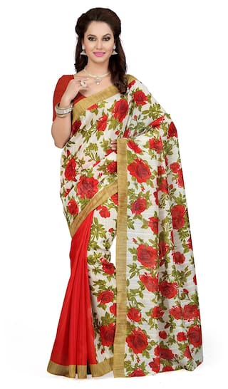 cb429808f61 Buy Ishin Beige Bhagalpuri Silk Printed Saree Online at Low Prices ...