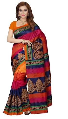 Ishin Bhagalpuri Art Silk Multicolor Floral Design Printed Party Wear Wedding Wear Casual Wear Festive Wear Bollywood New Collection With Woven Zari Border Latest Design Trendy Women'S Saree/Sari