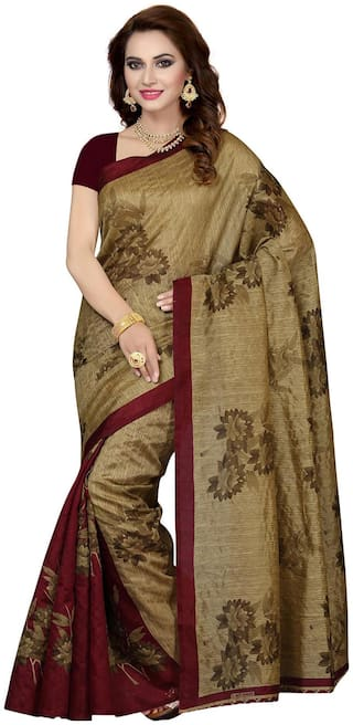 Ishin Silk Bhagalpuri Embroidered work Saree - Brown , Without blouse