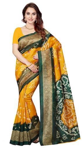 Ishin Bhagalpuri Art Silk Yellow & Green Party Wear Wedding Wear casual Daily Wear Festive Wear Bollywood New Collection Printed Latest Design Trendy Women's Saree
