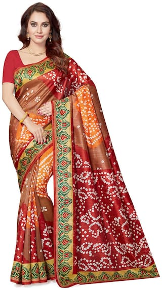 Ishin Bhagalpuri Art Silk Brown & Red Party Wear Wedding Wear casual Daily Wear Festive Wear Bollywood New Collection Printed Latest Design Trendy Women's Saree