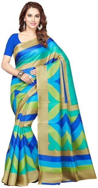 Ishin Blue Geometric Bhagalpuri Designer Saree With Blouse , With blouse