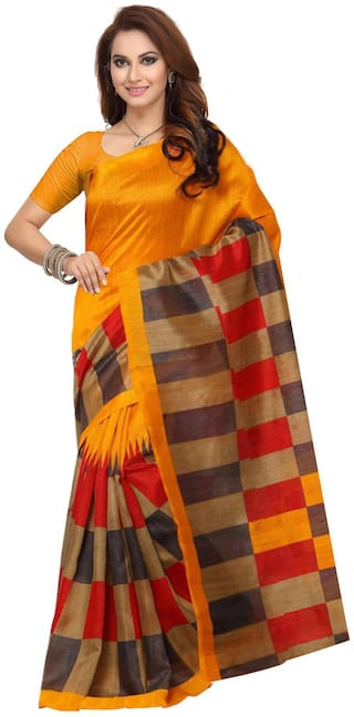 Ishin Yellow Checkered Bhagalpuri Designer Saree With Blouse , With blouse