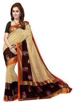 ISHIN Bhagalpuri Silk Beige & Black Bollywood Printed Women's Saree.