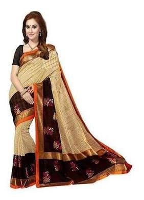 ISHIN Bhagalpuri Silk Beige & Black Bollywood Printed Women's Saree.