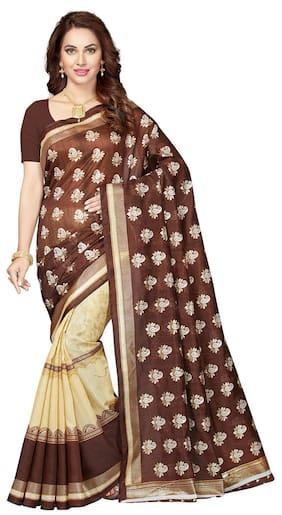 Ishin Bhagalpuri Silk Brown Bollwood Half & Half Printed Women's Saree.