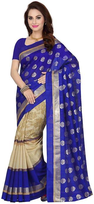 Ishin Bhagalpuri Silk Blue Printed Women's Saree .