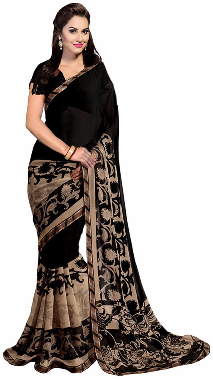 Ishin Bhagalpuri Art Silk Black Bollywood Printed Women's Saree