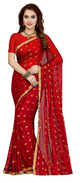 Ishin Chiffon Universal Zari Work Saree - Red