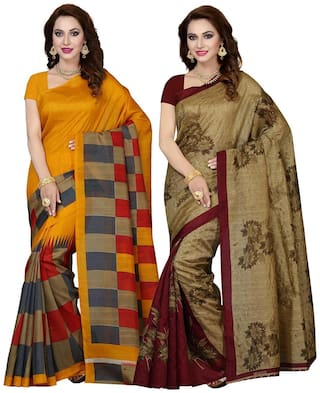 Ishin Combo of 2 Bhagalpuri Art Silk Printed Party Wear Wedding Wear Casual Wear Festive Wear Bollywood New Collection Latest Design Trendy Women's Saree/Sari