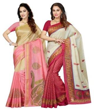 Ishin Combo of 2 Art Silk Printed Party Wear Wedding Wear Casual Trendy Women's Saree/Sari