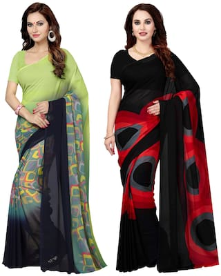 Ishin Combo of 2 Poly Georgette Multicolor Printed Women's Saree