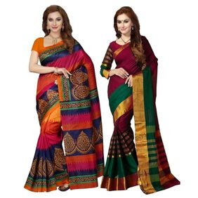 Ishin Combo of 2 Bhagalpuri Art Silk Saree