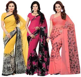 Ishin Combo of 3 Faux Georgette Multicolor Printed Women's Saree/Sari