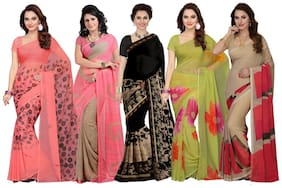 Georgette Dupion Saree