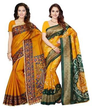 Ishin Combo of 2 Art Silk Printed Party Wear Wedding Wear Casual Wear Festive Wear New Collection Latest Design Trendy Women's Saree/Sari