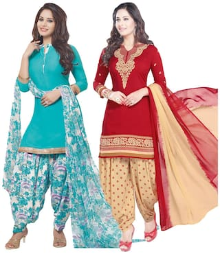 Ishin Combo of 2 Synthetic Multicolor Party Wear Wedding Wear New Collection Latest Design Printed Unstitched Salwar Suit Dress Material (Anarkali/Patiyala) With Dupatta