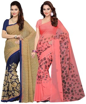 Ishin Combo Of 2 Faux Georgette Printed Women's Sarees.