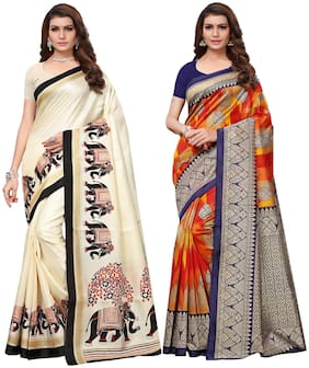 Ishin Combo of 2 Poly Silk Multicolor Printed Women's Saree with Blouse Piece