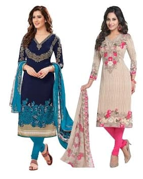 2c562f157bd4 Ishin Combo of 2 Synthetic Multicolor Party Wear Wedding Wear New  Collection Latest Design Printed Unstitched