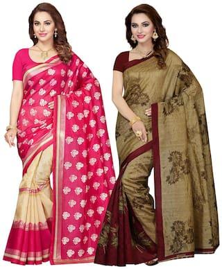 Ishin Combo of 2 Bhagalpuri Art Silk Printed Party Wear Wedding Wear Casual Wear Festive Wear Bollywood New Collection Latest Design Trendy Women's Saree/Sari