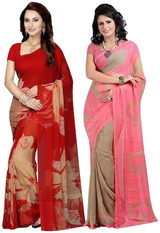 Ishin Combo of 2 Faux Georgette Multicolor Printed Women's Saree/Sari