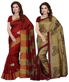 Ishin Combo of 2 Bhagalpuri Art Silk Saree