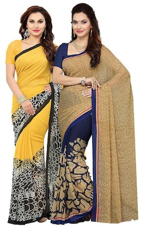 Ishin Combo of 2 Faux Georgette Printed Women's Saree