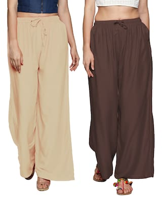Ishin Combo of 2 Rayon Multicolor Solid Flared Women's Palazzos