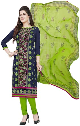 Ishin Cotton Navy Blue & Green Embroidered Women's Unstitched Salwar Suits dress material with Chiffon Dupatta
