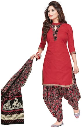 Ishin Cotton Red & Black Printed Unstitched Dress Material.