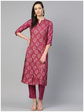 Ishin Cotton Purple Printed Kurta Trousers  For Women