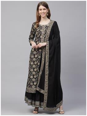 Ishin Cotton Black Printed Kurta Sharara  For Women