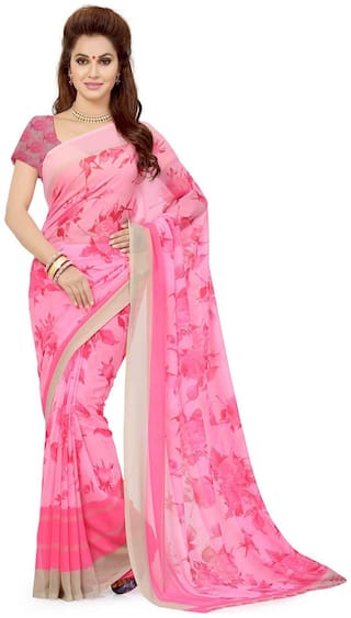Ishin Pink Floral Universal Regular Saree With Blouse , With blouse