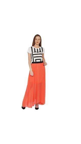 ISHIN Skirt Women s Georgette Faux Solid Peach Ar9bKY
