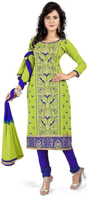 Ishin Crepe Printed Dress Material for Kurta - Green