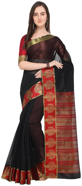 Ishin Gadhwal Cotton Black With Golden Zari Solid Womens Saree