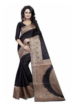 Ishin Kalamkari Art Silk Black Printed Party Wear Wedding Wear Casual Wear Festive Wear Bollywood New Collection Latest Design Trendy Women's Saree/Sari