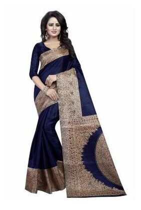 Ishin Kalamkari Art Silk Navy Blue Printed Party Wear Wedding Wear Casual Wear Festive Wear Bollywood New Collection Latest Design Trendy Women's Saree/Sari