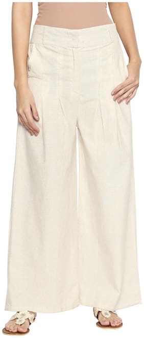 Ishin Khadi Cotton Off White Solid Women Palazzos