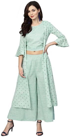 Ishin Kurta With Palazzo Women Cotton Ethnic Motifs Green