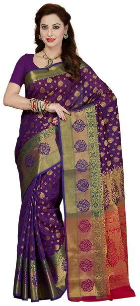 Ishin Monika & Chanderi Purple & Red Richpallu Woven Bollywood Women's Saree.