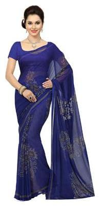 Ishin NavyBlue Georgette Printed  Women's Saree